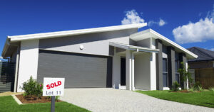 Modern Australian house exterior small for sale sign