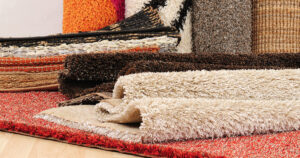 Different types of carpet rolled up